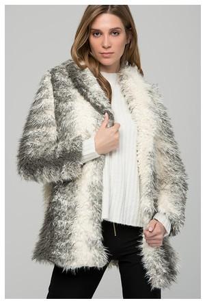 Moda Shop Gri Suni Kürk Uzun Ceket