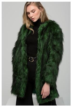 Moda Shop Yeşil Suni Kürk Uzun Ceket