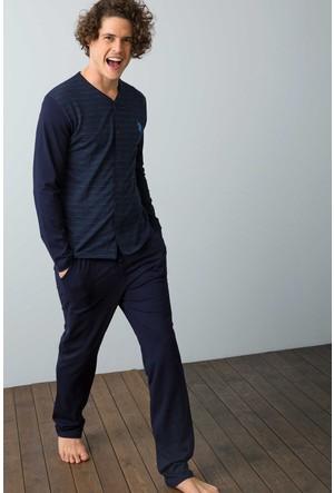 U.S. Polo Assn. Erkek Boydan Patlı Pijama Lacivert
