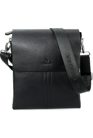 Grande 4270 Hakiki Deri Postacı Çanta Siyah