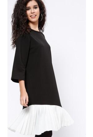 Pliseli Detaylı Elbise - Siyah - Koton