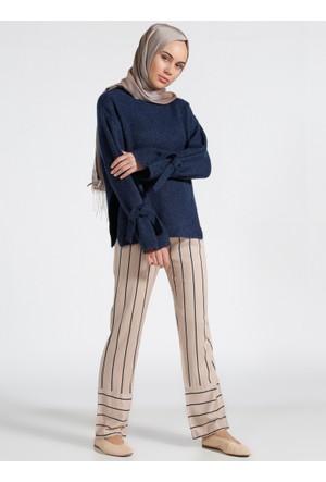 Doğal Kumaşlı Çizgili Pantolon - Lacivert Bej - Everyday Basic
