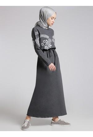 Beli Bağcıklı Elbise - Koyu Gri - Benin
