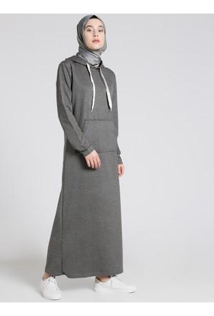 Doğal Kumaşlı Kapüşonlu Elbise - Koyu Gri - Everyday Basic