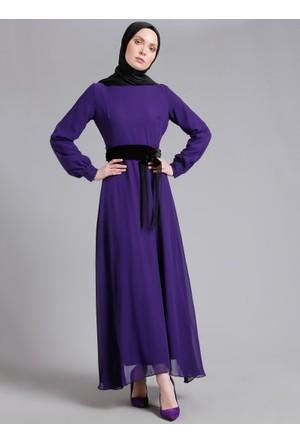 Kemerli Şifon Elbise - Mor - Refka
