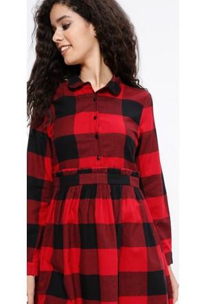Ekoseli Elbise - Kırmızı - Koton