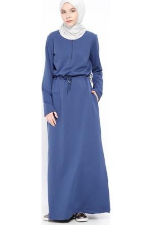Fermuar Detaylı Elbise - İndigo - Bwest
