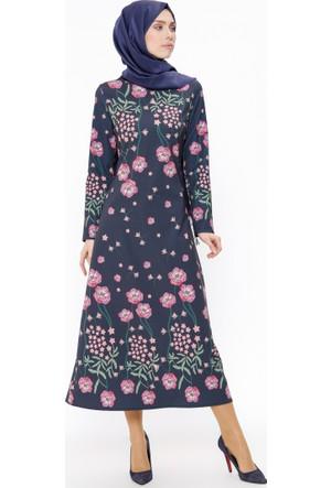 Çiçekli Elbise - Lacivert - Tuncay
