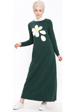 Baskılı Elbise - Haki - Casual By Dide