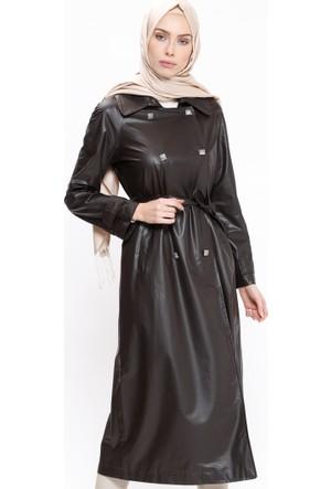 Düğmeli Kap - Kahverengi - ModaNaz