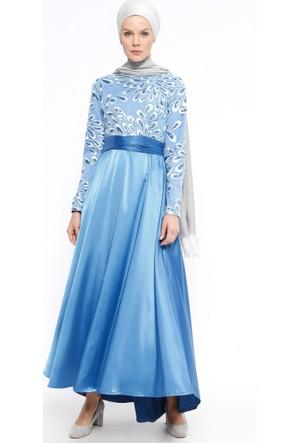 Payetli Abiye Elbise - Mavi - Ginezza