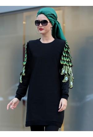 Tavus Kuşu Detaylı Tunik - Siyah - Selma Sarı Design