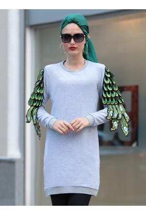 Tavus Kuşu Detaylı Tunik - Gri - Selma Sarı Design