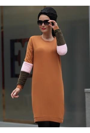 Kolları Peluş Tunik - Hardal - Selma Sarı Design
