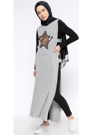 Kolsuz Uzun Tunik - Gri - Casual By Dide