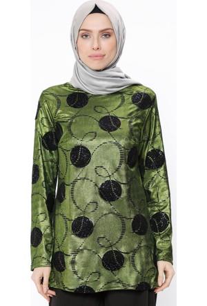 Flog Baskılı Tunik - Yeşil - Tuncay