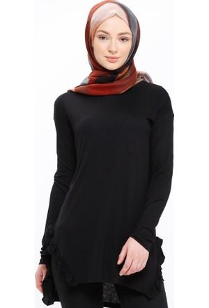 Fırfır Detaylı Tunik - Siyah - Casual By Dide