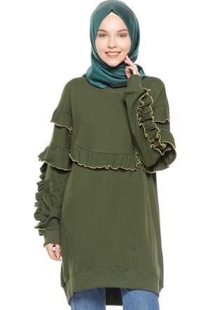 Fırfırlı Tunik - Yeşil - Casual By Dide