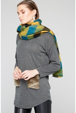 Fullamoda Kadın Peluşlu Bluz Haki