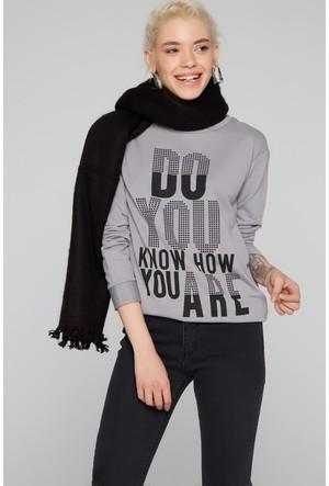 Fullamoda Kadın Baskılı Sweatshirt Antrasit