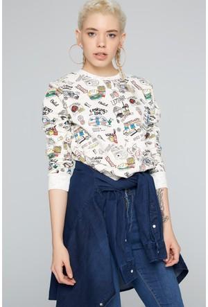 Fullamoda Kadın Baskılı Sweatshirt Bej