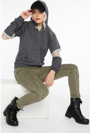 Fullamoda Kadın Kapüşonlu Sweatshirt Antrasit