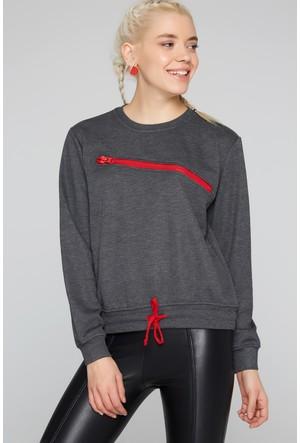 Fullamoda Kadın Fermuar Detaylı Sweatshirt Antrasit