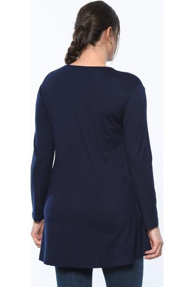 Lir Kadın Baskılı Tunik Lacivert 3211