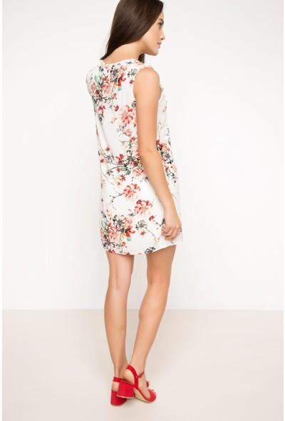 DeFacto Kadın Desenli Kolsuz Elbise Beyaz