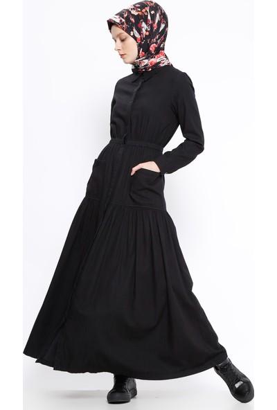 Neways Boydan Gizli Düğmeli Kot Elbise - Siyah