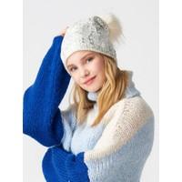 Modamarka Shop Kadın Bere Parlak Beyaz Ponpon Tüylü Kışlık Şapka