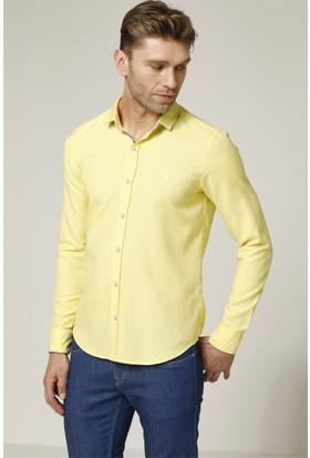 Avva Pastel Sarı Armürlü Erkek Gömlek