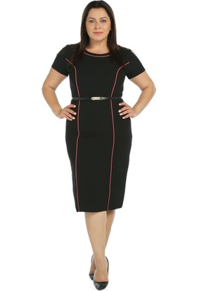Nidya Moda Büyük Beden Somon Biyeli Siyah Elbise