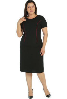 Nidya Moda Büyük Beden Bordo Biyeli Siyah Elbise
