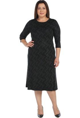 Nidya Moda Büyük Beden Siyah Abiye Elbise