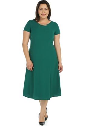 Nidya Moda Büyük Beden Aksesuarlı Yeşil Abiye Elbise