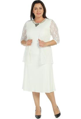 Nidya Moda Büyük Beden Ekru Abiye Elbise