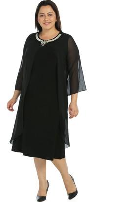 Nidya Moda Büyük Beden Dane Yaka Üst Şifon Siyah Abiye Elbise