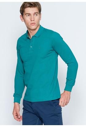 Adze Erkek Benetton Yeşili Polo Yaka Basic Sweatshirt