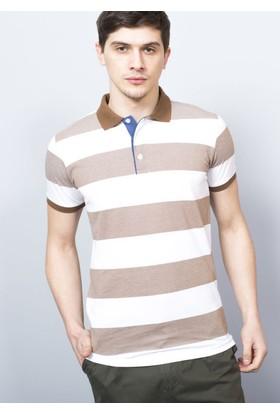 Adze Tarçın Erkek Çizgili Battal Polo Yaka T-Shirt