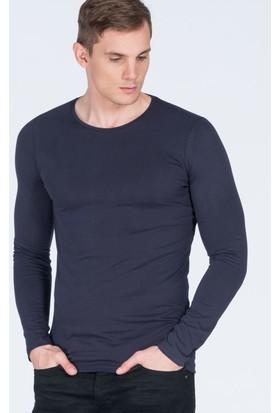 Adze Lacivert Erkek Bisiklet Yaka Basic Sweatshirt