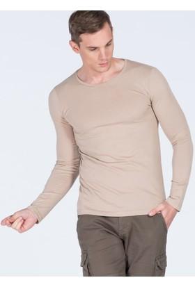 Adze Bej Erkek Bisiklet Yaka Basic Sweatshirt