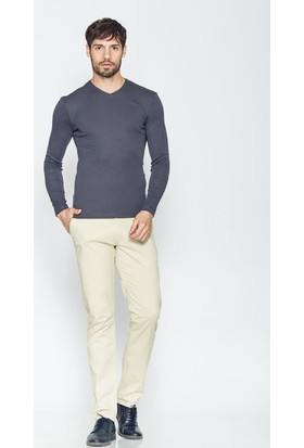 Cazador Antrasit Erkek V Yaka Slim Fit Basic Sweatshirt