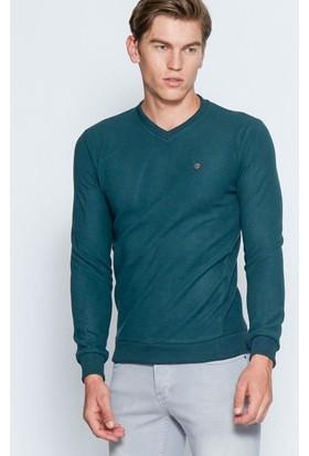 Adze Erkek Koyu Yeşil Basic V Yaka Sweatshirt