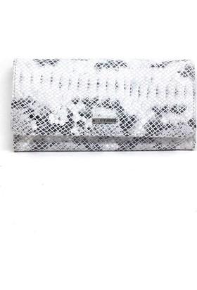 Shop And Shoes 206-3201 Kadın Deri Cüzdan Beyaz Petek