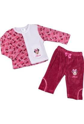 Disney Minnie Mouse Bebek Kadife Pijama Takımı 9183