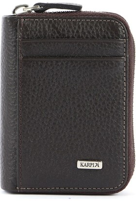 Karpix Fermuarlı Kartlık Kahverengi