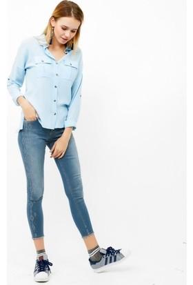 Eka Taş İşlemeli Yüksek Bel Likralı Jean