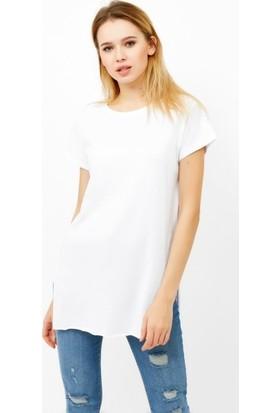 Eka Bisiklet Yaka Uzun Yırtmaçlı Basic T-Shirt