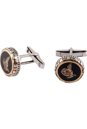 Akyüz Gümüş Osmanlı Tuğralı Gümüş Kol Düğmesi
